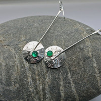 Green Onyx. Sterling silver long earrings. Silver stick and Dome. Abstract stamped design. Handmade. Modern. May birthstone green.
