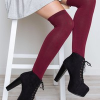 Elfie Thigh High Socks - Burgundy