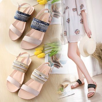 Women Bohemia Slippers Flip Flops Flat Sandals Toe Beach Gladiator Ankle Shoes