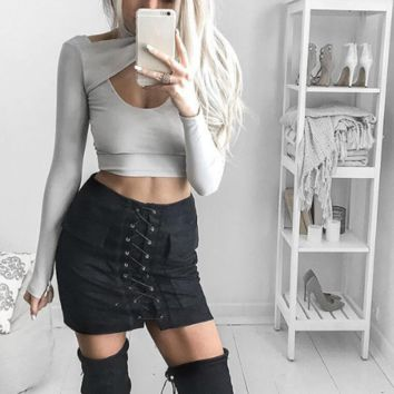 Strappy Lace Up Suede Black Skirt