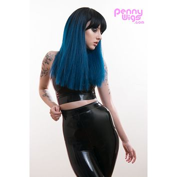 Kailee- Ombre Black/Blue Straight Long Full Wig