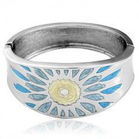 "EPIC Yellow Blue Flower Bracelet Bangle 2.36"" +Gift Box"