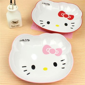 1PC Cartoon Hello Kitty Melamine Dish Plate Dinnerware Children Dinner Plate Baby Tableware Dishes Fruit Bowl Plate 3C