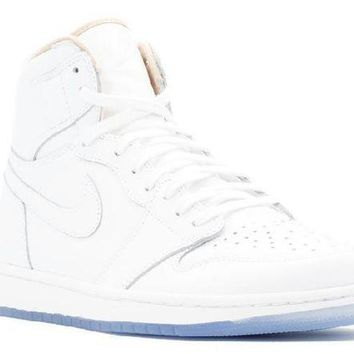 PEAPN Ready Stock Nike Air Jordan 1 Retro High La Los Angeles White Metallic Gold Basketball Sport Shoes