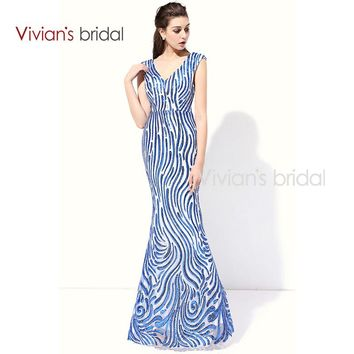 Beaded Formal Evening Gowns Dresses V Neck Cap Sleeve Mermaid Evening Dresses Prom Gowns