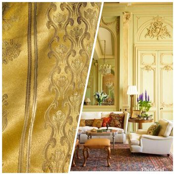 SALE! Designer Brocade Upholstery Fabric - French Gold Yellow - By The Yard
