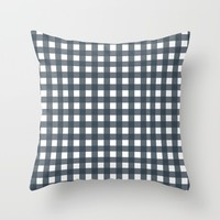 Navy Check Pattern Throw Pillow by Allyson Johnson | Society6