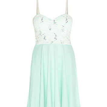 Cameo Rose Mint Green Contrast Lace Sequin Bustier Skater Dress