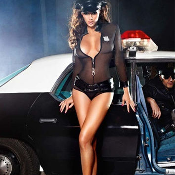 Sexy Police Costume Traffic Cop Costume ,Sexy Cosplay Police Costume for Women,Halloween costume,Night clubwear 2200 (Size: M, Color: Black) = 1697090500