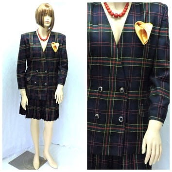 Vintage tartan pleated skirt suit size 12 / 14, double breasted blazer and plaid pleated skirt, retro plaid jacket / skirt  SunnyBohoVintage