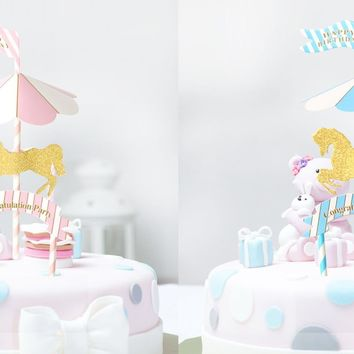 Carousel Horse Cake Topper, Horse cake topper, Carousel Party, Merry Go Around Carousel Birthday Party Accessory, Carnival cupcake topper