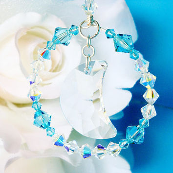 Crystal Suncatcher Rear View Mirror Charm Turquoise Blue Car Accessories
