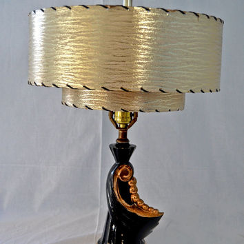 Vintage 1950s Mid Century Small Black and Coppery Gold Lamp with Silver / Gold Glittery Two Tiered Fiberglass Lamp Shade -BLING