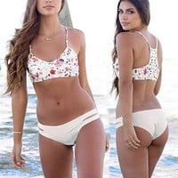Floral Printed Hollow Bandage Knit Floral Printed Bikini Swim Suit Beach Bathing Suits Swimwear