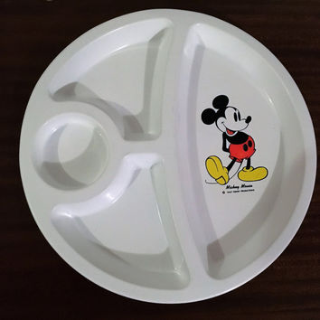 Vintage 1980s Walt Disney Productions Mickey Mouse Divided Children's Plate / Serving Tray / Retro Circular Mickey Mouse Club Plate