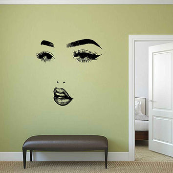 Girl Face Wall Decals Model Girl Wall Decal Beauty Salon Make Up Wall Decals Girls Eyes lips Wall Decor Beauty Salon Wall Decor kik3399