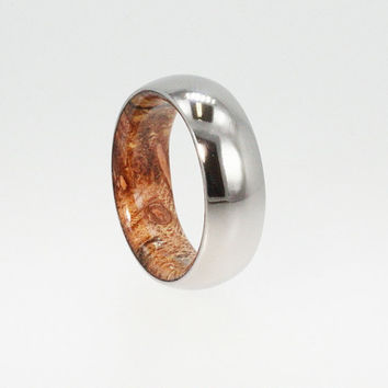 Mens Titanium Ring, Sindora Wood Inner Sleeve, Ring Armor Included