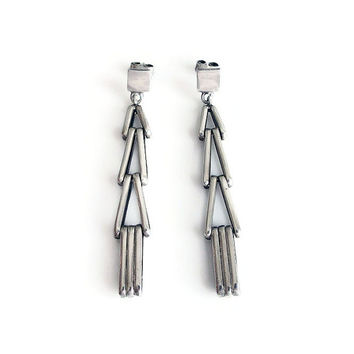 Sterling Earrings, Modernist Earrings, Geometric, Dangle Drop, Sterling Silver, Silver Jewelry, Vintage Earrings, Vintage Jewelry