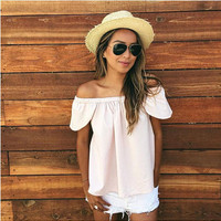 Apricot Off Shoulder Wrapped Chest T-Shirt