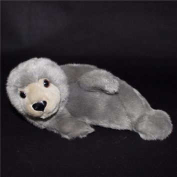 Gray Seal Stuffed Animal Plush Toy 9""