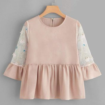 Contrast Mesh Embroidery Babydoll Blouse