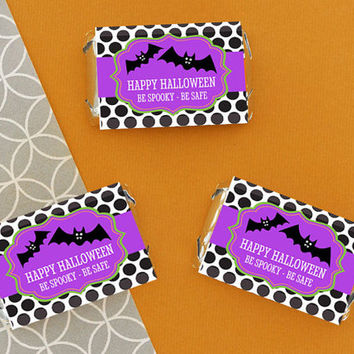 Personalized Halloween Mini Candy Bar Wrappers - 24pc - Halloween Birthday Favors - Halloween Candy - Halloween Party Invitation - Gift Bags