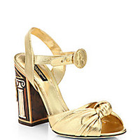 Dolce & Gabbana - Metallic Nappa Leather Knot Sandals - Saks Fifth Avenue Mobile