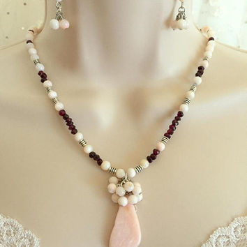 Opal and Garnet Necklace and Earring set, Semi-Precious Stone Necklace, Healing necklace, Beach Necklace, Cluster Necklace, Gift for her