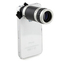 Optical 8X Zoom Telescope Camera Lens Manual Focus for Apple iPhone 4 4S with Hard Back Case