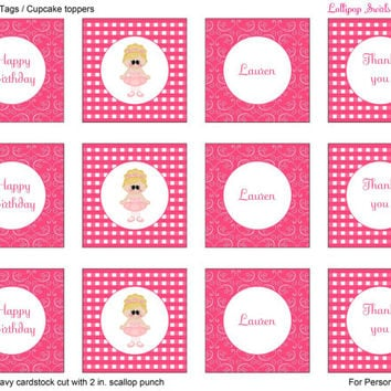 Pink Ballerina Girls DIY Printable Mini Birthday Bundle / Invitation / Thank You Card / Favor Tags or Cupcake Toppers