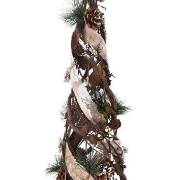 "Fake Birch Tabletop Holiday Tree with Mini Pine Cones - 20"" Tall"