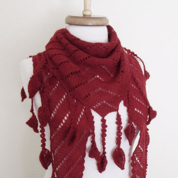 Red Scarf Shawl -Lace Edge-Ready for shipping