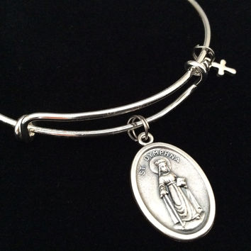 Saint Dymphna Medal Silver Expandable Charm Bracelet Double Sided Adjustable Wire Bangle Stacking Trendy Patron