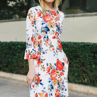 the Atina White Floral Midi Dress