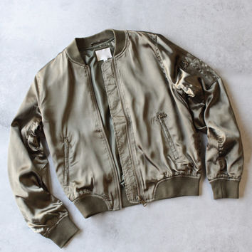lightweight satin bomber jacket - olive