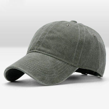 Army Green Wash Canvas Ventilation Baseball Cap Women Men Hat