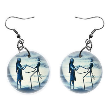 The Nightmare Before Christmas Jack Sally Dangle Button Earrings