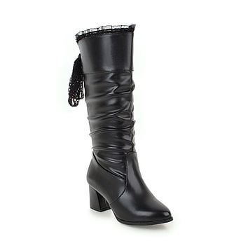 Soft Leather Lace Tall Boots Winter Shoes for Woman 8028