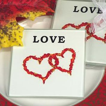 Unique Fall in Love Glass Coaster Set (Sold in Sets of 2)
