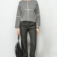 Minimalism Plaid Knit Top TP0315
