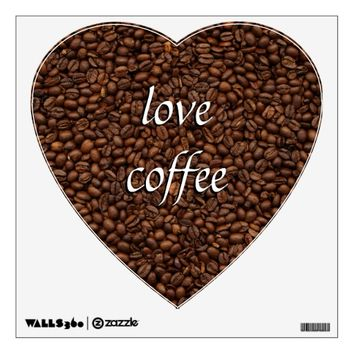Love Coffee - Pile of Beans Heart Wall Decal