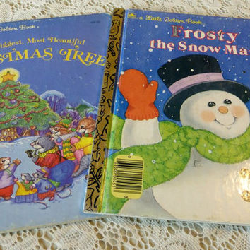 Frosty the Snow Man and The Biggest Most Beautiful Christmas Tree, Two Little Golden Christmas Story Books, Blue White