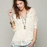 Free People  Patched Crochet Pullover at Free People Clothing Boutique