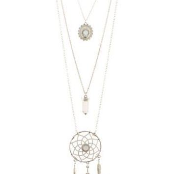 Silver Layered Dreamcatcher Charm Necklace by Charlotte Russe
