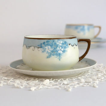 Antique Austrian Cup and Saucer, Forget Me Nots Porcelain Cup and Saucer, Hand Painted during WWI, vintage Austria cup saucer blue white