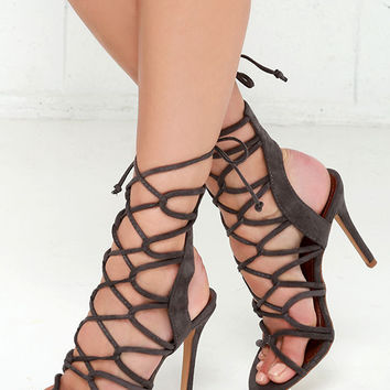 Sorry Not Sorry Grey Lace-Up Heels