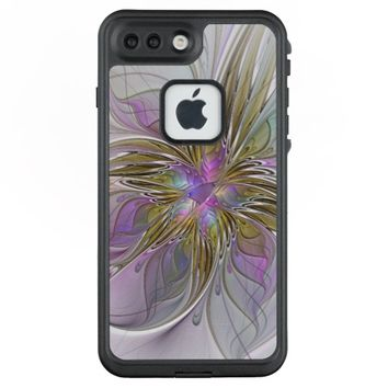 Floral Colorful Abstract Fractal With Pink & Gold LifeProof® FRĒ® iPhone 7 Plus Case