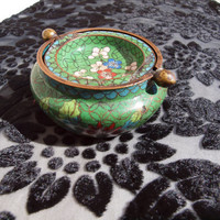 Vintage Chinese Cloisonne Green Floral Ashtray