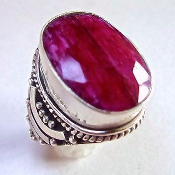 Faceted Ruby Sterling Silver Ring, Oval Bezel Set Ornate Silverwork, Handcrafted Vintage Size 7.5