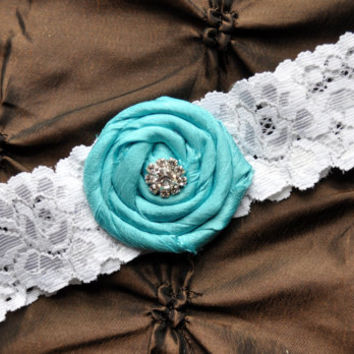 Wedding Garter, Bridal Garter - White Lace Garter, Toss Garter, Rolled Silk Rosette Aqua Tiffany Blue, Something Blue